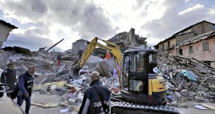 Rescuers search for survivors through the rubble of collapsed buildings following an earthquake, in Amatrice, Italy, Wednesday, Aug. 24, 2016.  The magnitude 6 quake struck at 3:36 a.m. (0136 GMT) and was felt across a broad swath of central Italy, including Rome where residents of the capital felt a long swaying followed by aftershocks. (ANSA/AP Photo/Alessandra Tarantino) [CopyrightNotice: Copyright 2016 The Associated Press. All rights reserved. This material may not be published, broadcast, rewritten or redistribu]