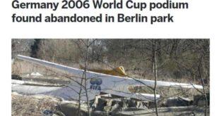 Mondiali 2006, il podio del trionfo abbandonato in un parco