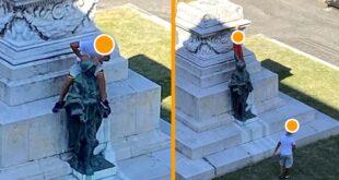 Vandali a cavallo del monumento in bronzo. Smascherati dai social